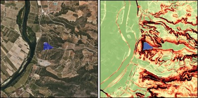 Exemple d'aplicació GIS a l'estudi de fortificacions. Castellet de Banyoles de Tivissa. Imatge: Oriol Cuscó (ICAC).